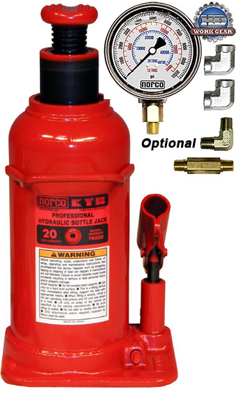 Norco Bottle Jack 20-Ton with Optional Gauge 76520AG