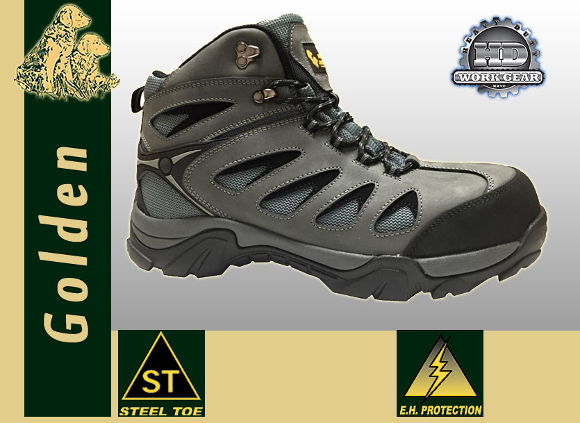 Golden Retriever Gray Leather Mesh Hiker 7365