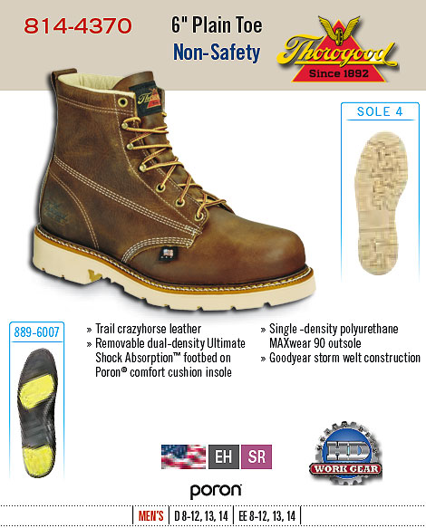 Thorogood 6 inch Plain Toe Non-Safety 814-4370
