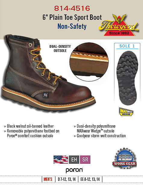 Thorogood 6 inch Plain Toe Sport Boot Non-Safety Toe 814-4516