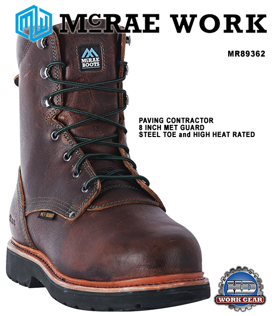 McRae 8 Inch Met Guard Steel Toe High Heat Leather Boots MR89362