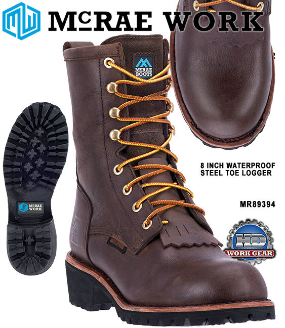 McRae 8 Inch Waterproof Steel Toe Logger Leather Boots MR89394