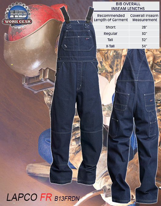 LAPCO Flame Resistant Washed Denim Bib Coverall B13FRDN