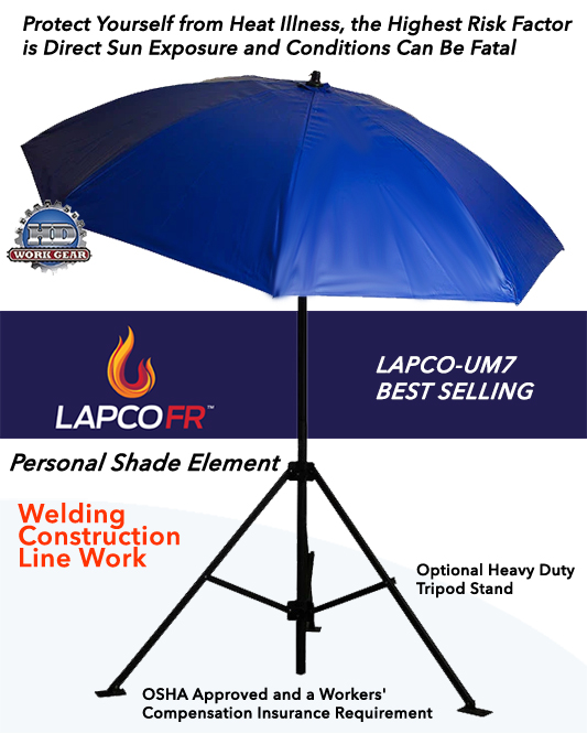LAPCO 7 Ft Dia. Blue Construction Task Umbrella LAP-UM7VB