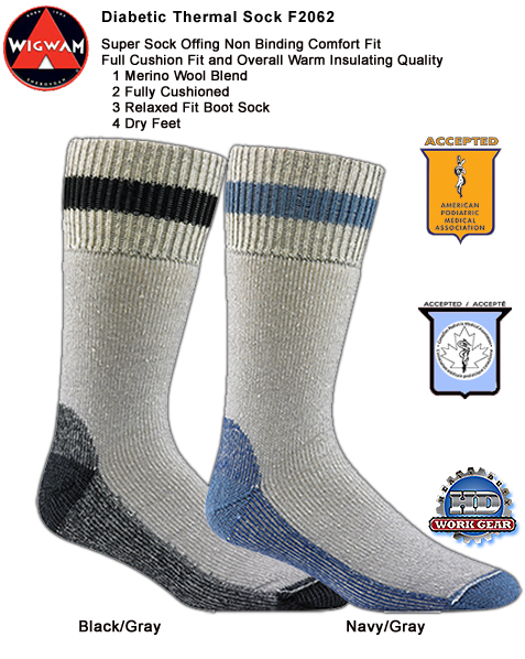 Wigwam Diabetic Boot Socks 6-Pr Pricing/Shipping Included F2062