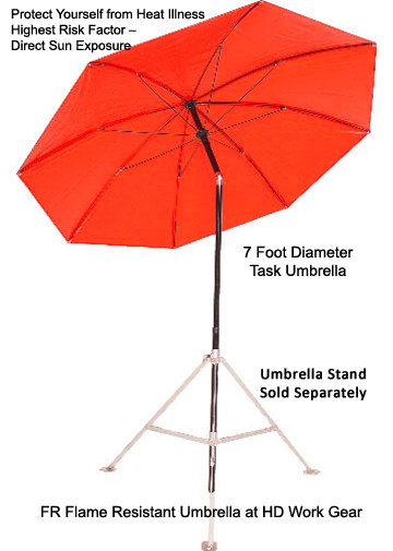 LAPCO 7 Ft Dia. FR Flame Resistant Orange Umbrella LAP-UM7FRO