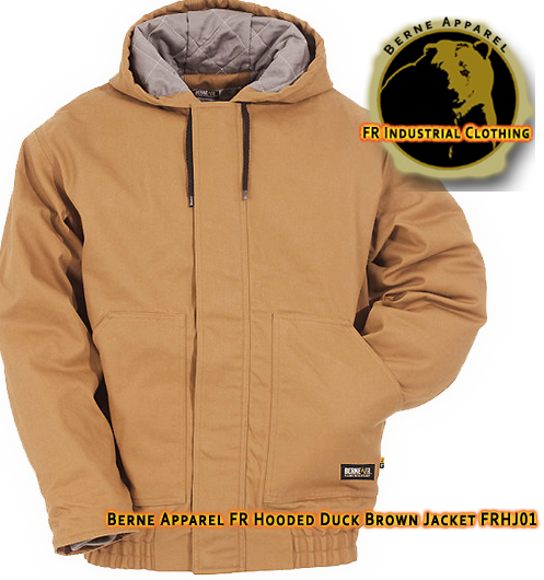 Berne Apparel FR Duck Brown Hooded Jacket FRHJ01
