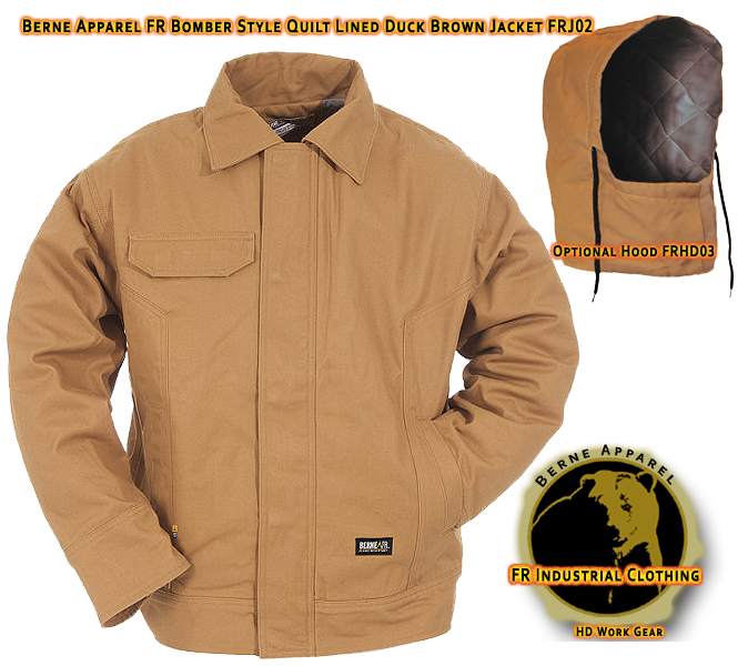 Berne Apparel FR Duck Brown Bomber Style Lined Jacket FRJ02