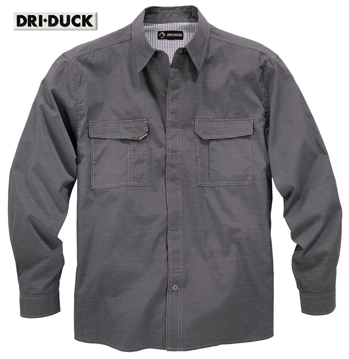 Dri Duck Field LS Black Shirt Breathable Snap Front 4434