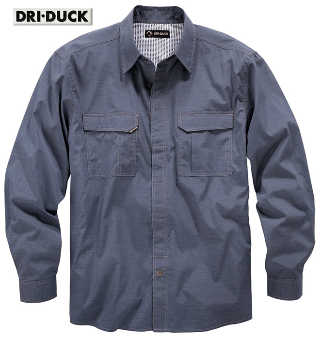 Dri Duck Field LS Blue Shirt Breathable Snap Front 4434