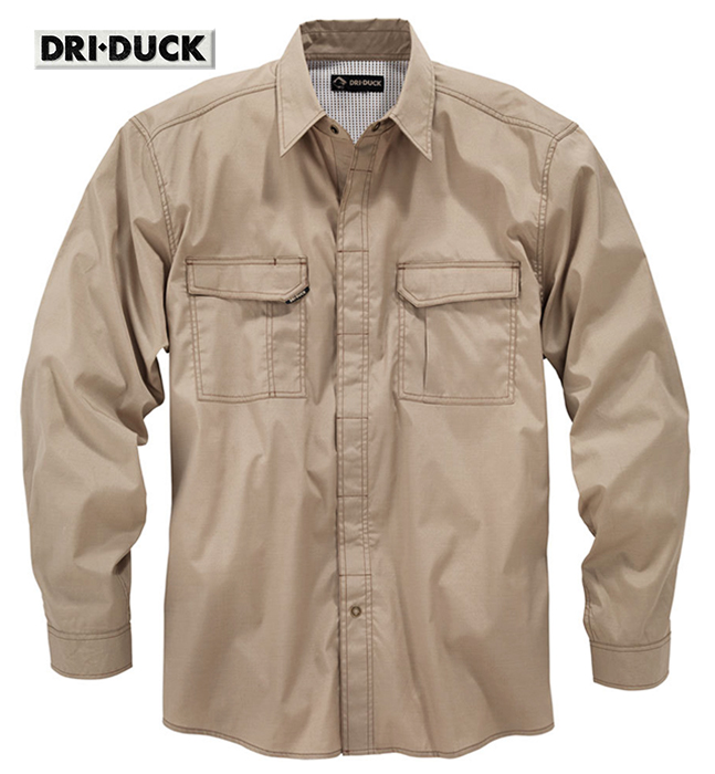 Dri Duck Field LS Khaki Shirt Breathable Snap Front 4434