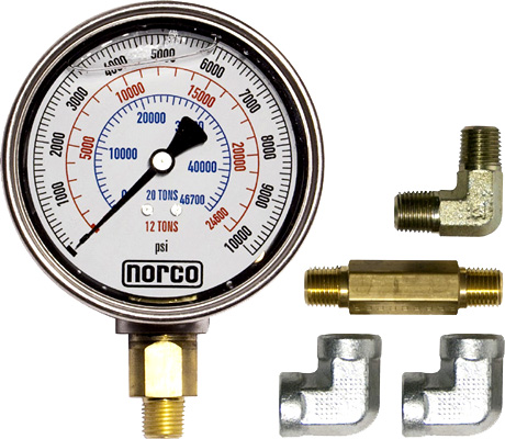 Norco High Test Hydraulic Pressure Gauge with Fittings 78021