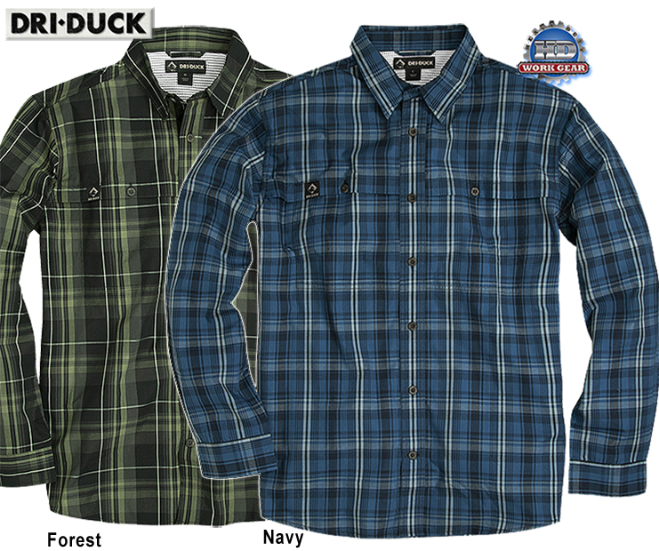 Dri Duck Gillham Long Sleeve Shirt Cotton Blend Woven Plaid
