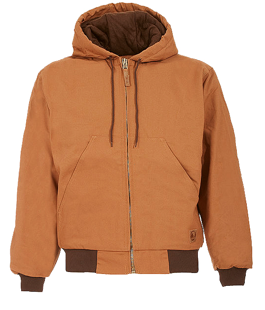 Berne Apparel Quilt Lined Brown Hooded Jacket HJ51