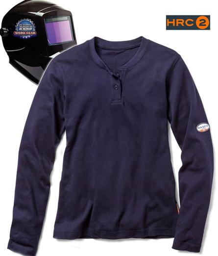 30bf05617a Rasco Women s Henley Work Shirt Color  Navy W-NTF453