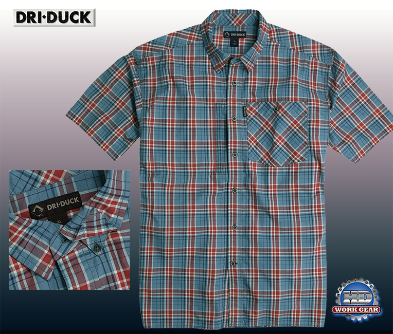 Dri Duck Hometown Short Sleeve Blue/Red Plaid Shirt