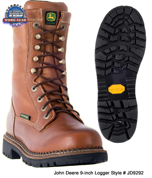 John Deere 9-in Lace-Up WP Logger / Cross-Trade Boot JD9292