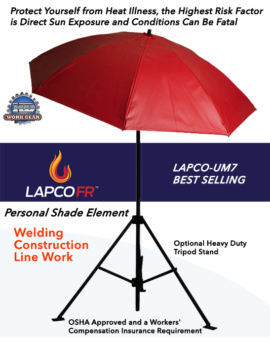 LAPCO 7 Ft Dia. Red Construction Task Umbrella LAP-UM7VR