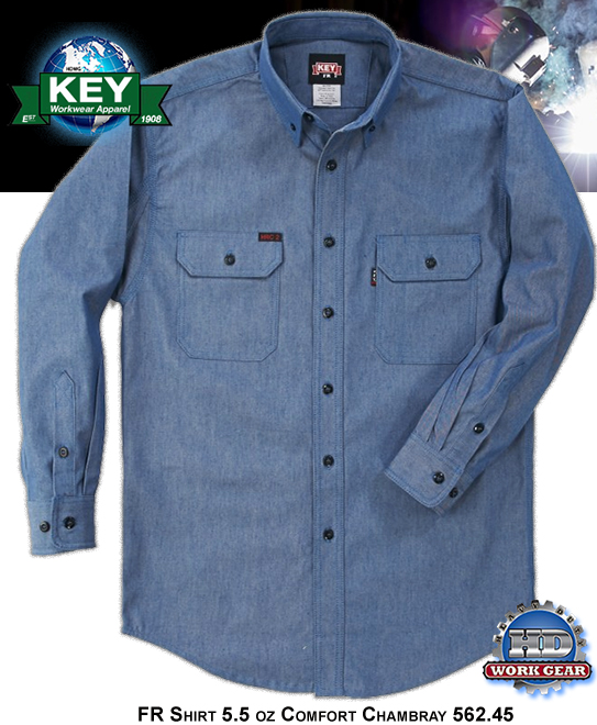 Key FR Shirt Chambray Blue Light Weight Comfort Fabric 562.45