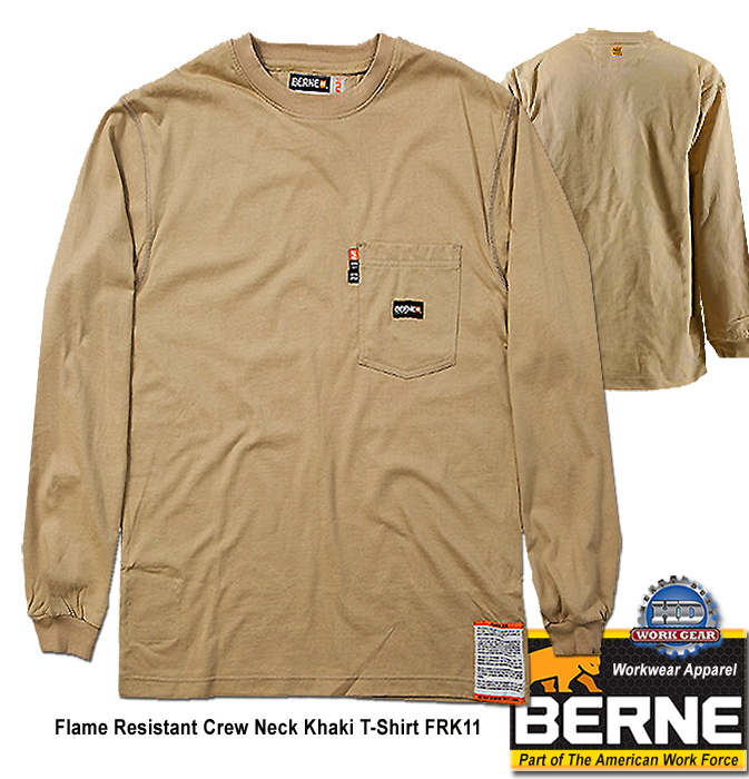 Berne FR Crew Neck Long Sleeve Khaki T-Shirt FRK11