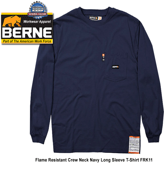 Berne FR Crew Neck Long Sleeve Navy T-Shirt FRK11