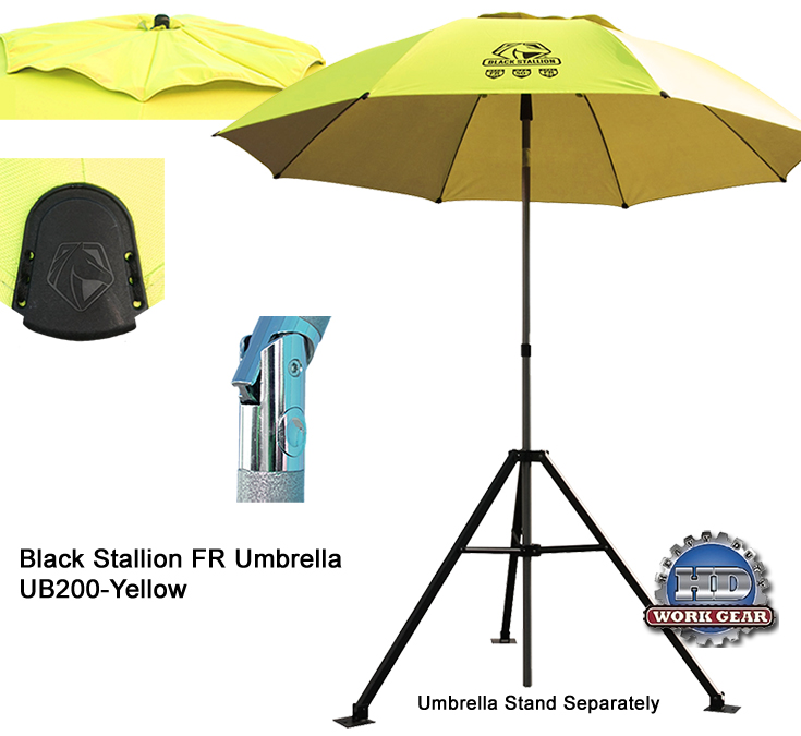 Black Stallion Flame Resistant PPE Contractor Umbrella UB200-YEL