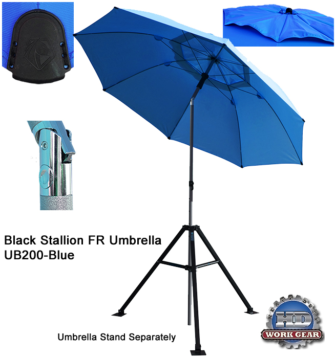 Black Stallion Flame Resistant PPE Contractor Umbrella UB200-BLU