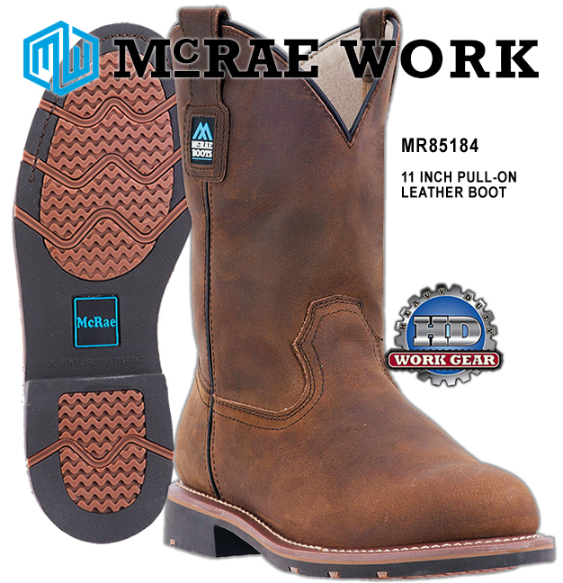 McRae 11-inch Pull-On Non-Safety Toe Work Boots MR85184