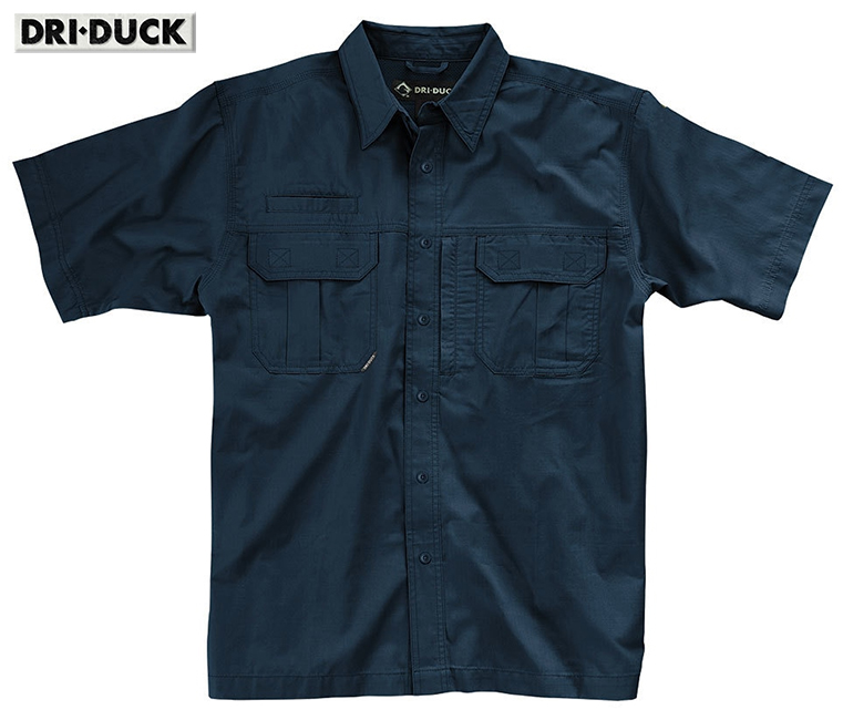 Dri Duck Utility Rip-Stop Blue Shirt Action Back 4436