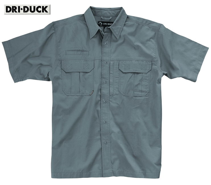 Dri Duck Utility Rip-Stop Gunmetal Shirt Action Back 4436