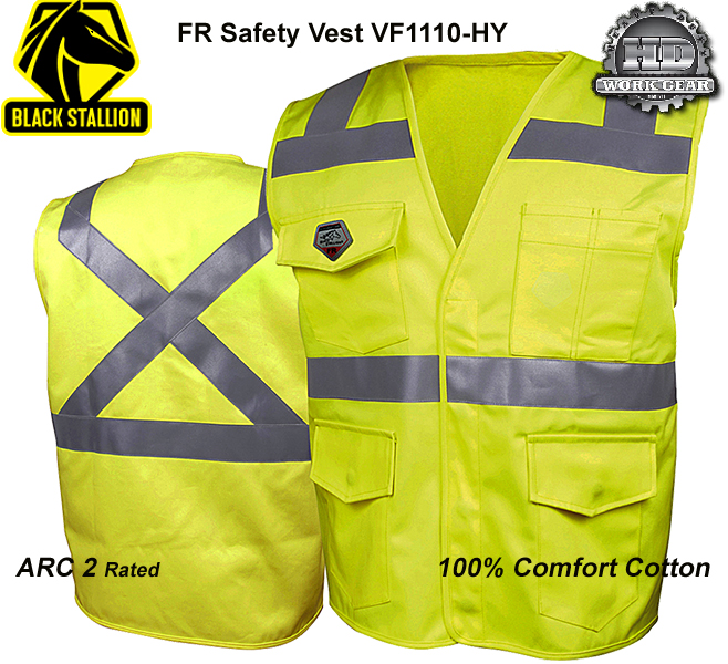 Black Stallion FR TruGuard 250 Hi-Viz Class-2 Cotton Vest VF1110
