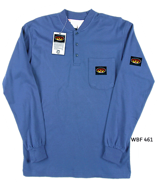 Rasco FR Henley Work Blue T-Shirt Preshrunk Cotton WBF461