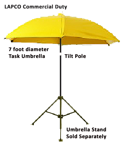 LAPCO 7 Ft Dia. Yellow Construction Task Umbrella LAP-UM7VY